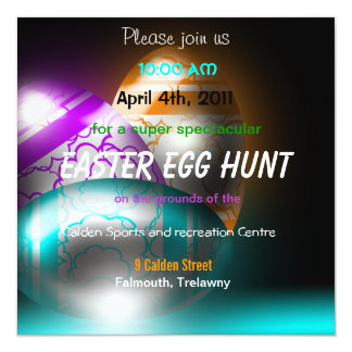 "Glowing Easter Eggs Easter Egg Hunt Invitation 5.25"" Square Invitation Card"