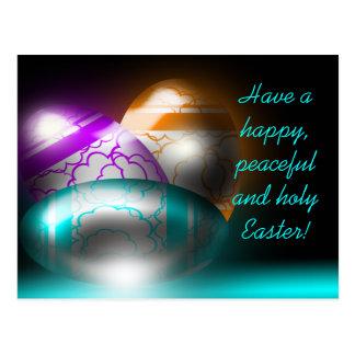 Glowing Easter Eggs Postcard