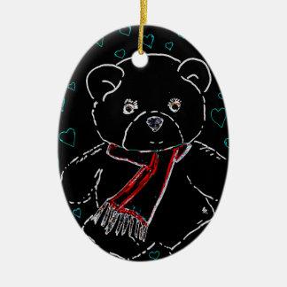 Glowing Edge Teddy Bear Love Ceramic Ornament