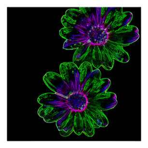 neon flowers posters photo prints zazzle