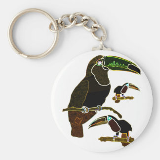 Glowing Edges Toucan Basic Round Button Keychain
