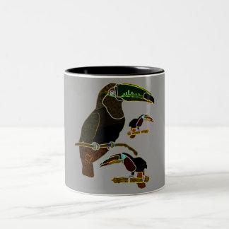 Glowing Edges Toucan Two-Tone Coffee Mug