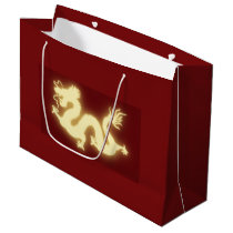 Glowing Electric Chinese Dragon Dark Red Gift Bag