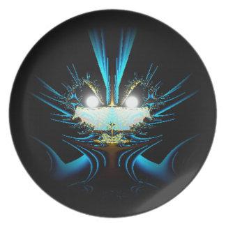 Glowing Eyes Alien Dragon Blue Party Plates