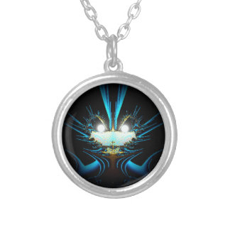 Glowing Eyes Alien Dragon Blue Silver Plated Necklace