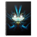 Glowing Eyes Alien Dragon Blue Spiral Note Book