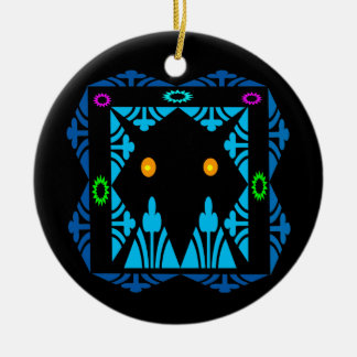 Glowing Eyes Double-Sided Ceramic Round Christmas Ornament