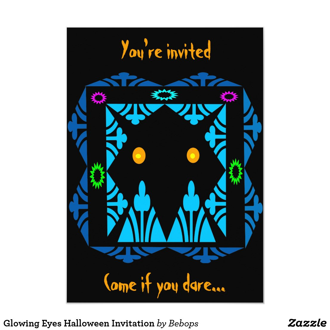 Glowing Eyes Halloween Invitation