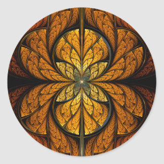 Glowing Feathers fractal art Classic Round Sticker