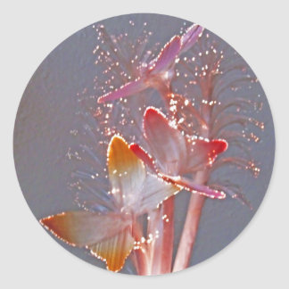 Glowing Fiber Optic Butterflies Round Stickers