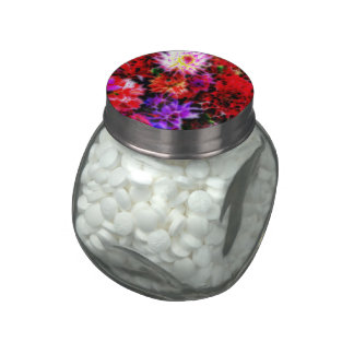 glowing flowers (C) Glass Candy Jar