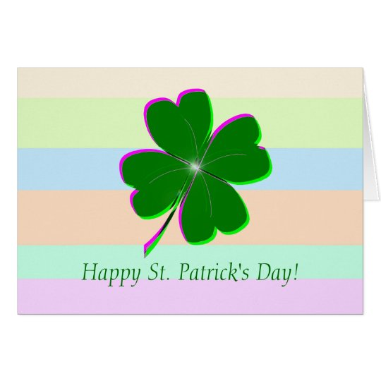 Glowing Four Leaf Clover Card