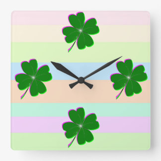 Glowing Four Leaf Clover Square Wall Clock