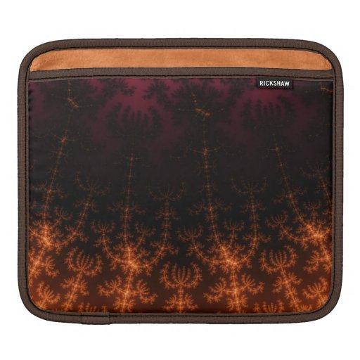 Glowing Fractal Dusk - gold, black and fuschia iPad Sleeve