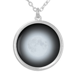 Glowing Full Moon on Black Silver Plated Necklace
