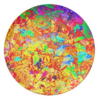 Glowing Garden Art Photo Plastic Picnic Wall Decor Party Plates