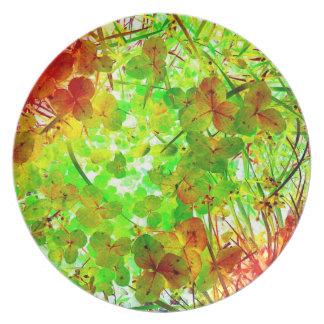 Glowing Garden Art Photo Plastic Picnic Wall Decor Plates