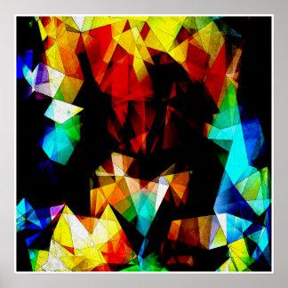 Glowing Geometric Abstract Print
