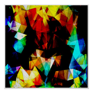 Glowing Geometric Abstract Print