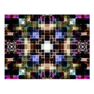 Glowing Geometric Cubes Postcard