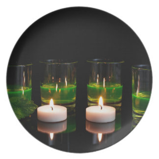 Glowing Glass with Candles Melamine Plate