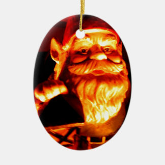 Glowing Gnome Double-Sided Oval Ceramic Christmas Ornament