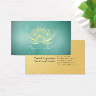 Glowing Gold Lotus and Teal Grunge Yoga Instructor Business Card