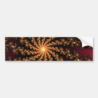 Glowing Golden Fractal Explosion on Burgundy Bumper Sticker