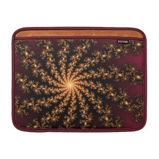 Glowing Golden Fractal Explosion on Burgundy Sleeve For MacBook Air