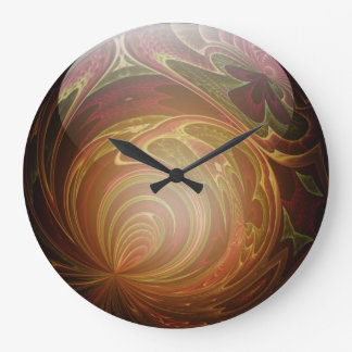 Glowing Golden, Textured Glass Marble Abstract Large Clock