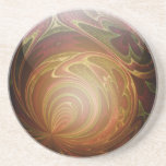 Glowing Golden, Textured Glass Marble Abstract Sandstone Coaster
