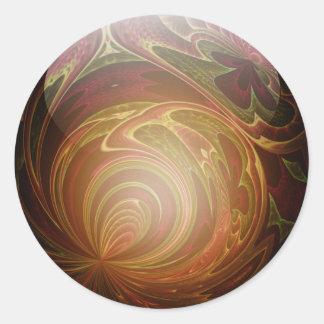 Glowing Golden, Textured Glass Marble Classic Round Sticker