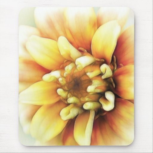 Glowing Golden Zinnia Mouse Pad