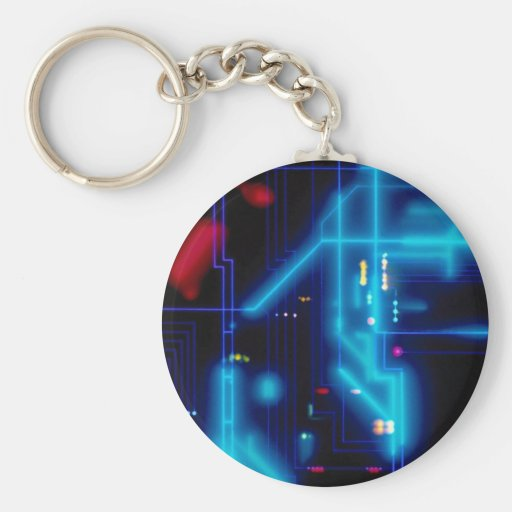 Glowing graphic circuit board key chains