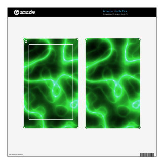 Glowing Green Abstract Electricity Decal For Kindle Fire