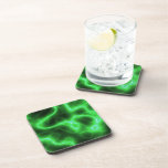 Glowing Green Abstract Electricity Drink Coasters