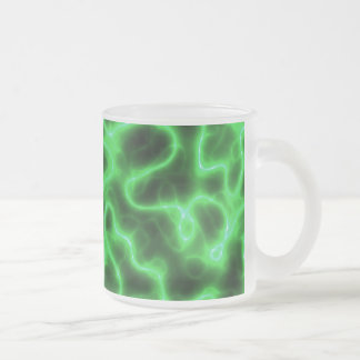 Glowing Green Abstract Electricity Frosted Glass Coffee Mug