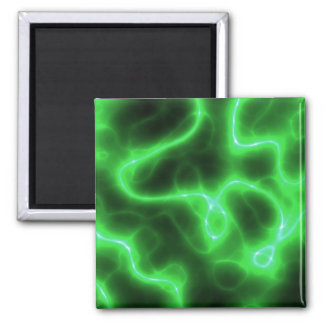 Glowing Green Abstract Electricity 2 Inch Square Magnet