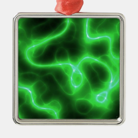 Glowing Green Abstract Electricity Metal Ornament