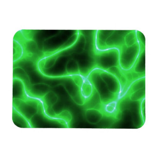 Glowing Green Abstract Electricity Rectangular Photo Magnet