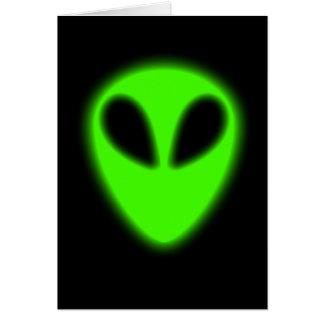 Glowing Green Alien Card