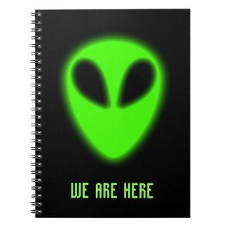 Glowing Green Alien Notebook