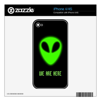 Glowing Green Alien Zazzle Skin Skin For The iPhone 4