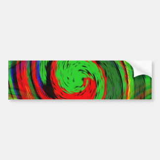 Glowing green and fluoresent red swirl design bumper sticker