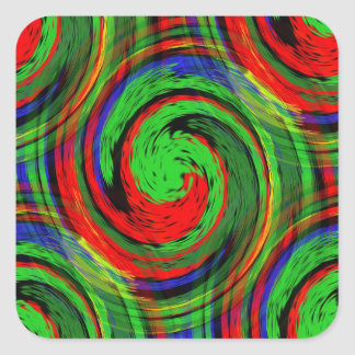 Glowing green and fluoresent red swirl design square sticker