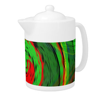 Glowing green and fluoresent red swirl design teapot
