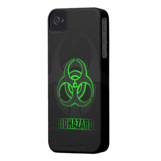 Glowing Green Biohazard Symbol iPhone 4 Case-Mate Cases