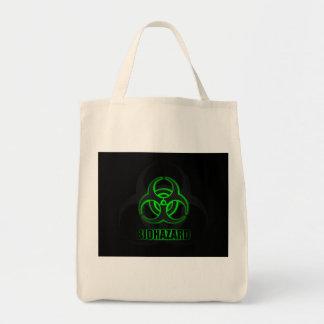 Glowing Green Biohazard Symbol Tote Bag