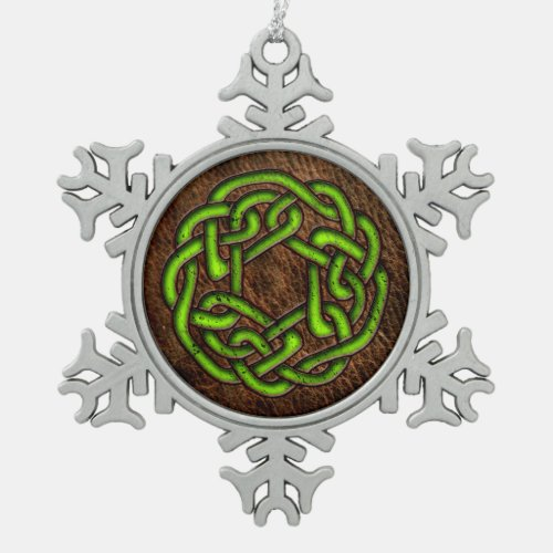 Glowing green celtic knot on leather digital art