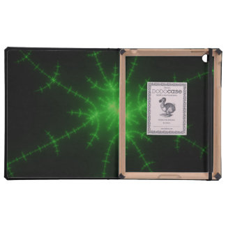 Glowing Green Fractal Explosion Case For iPad